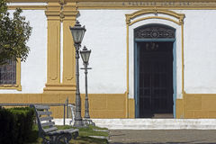 Typical bucolic square of contryside city. SANTANA DE PARNAIBA, SP, BRAZIL - AUGUST 1, 2015 - Bucolic square beside church of Santana de Parnaiba, built in 1882 Royalty Free Stock Photography