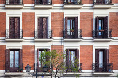 Typical building facade on a spring day in Madrid, Spain Royalty Free Stock Photos