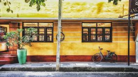 A typical building in french style in Pondicherry,India stock images