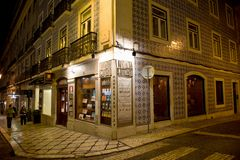 Typical building in Lisbon with old tiles in night. Traditional building in Lisbon, Portugal, with old decorative tiles Stock Photo