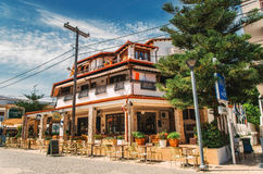 Typical Building On The Central Square In Hanioti On Kasandra Penisula, Halkidiki, Greece Royalty Free Stock Photography