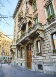 Typical building of Zona Magenta neighborhood. Milan, Lombardy, Italy. stock photos
