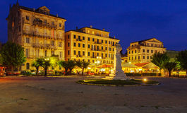 Typical Buildings At Night, Corfu City, Greece Stock Image