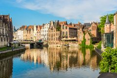 Typical buildings at the bank of Leie river in Ghent - Belgium stock images