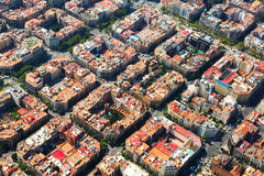 Typical buildings of Barcelona cityscape from helicopter. Cata Royalty Free Stock Image