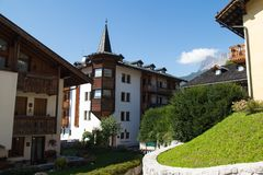 Typical buildings of Cortina d`Ampezzo. Dolomites, Italy. stock images