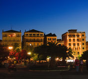 Typical buildings at night, Corfu city Royalty Free Stock Image