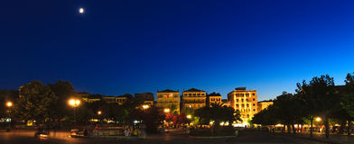 Typical buildings at night, Corfu city Stock Photo
