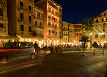 Typical buildings at night, Corfu city Royalty Free Stock Photography