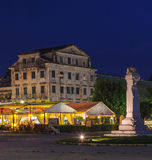 Typical buildings at night, Corfu city Stock Photography
