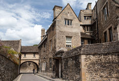 Typical Buildings Oxford England. A typical street with stone historical buildings in Oxford, England Stock Image