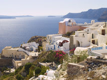Typical buildings in Santorini Stock Image