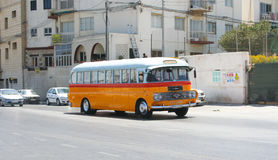 Typical bus of Malta. Legendary and iconic Malta public buses, tourist attraction of the island Stock Photos