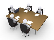 Typical business meeting. Business meeting between five 3d people Royalty Free Stock Image