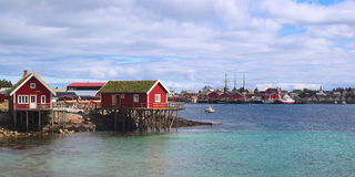 Typical Cabins Called Rorbu in Reine on the Lofote Stock Photo