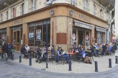 Typical cafe in Bordeaux stock photo
