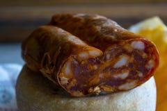 Traditional soppressata made in Calabria. Typical calabrese hot salami called soppressata stock photos