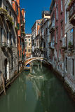 Typical Canal, Bridge and Historical Buildings Royalty Free Stock Photos