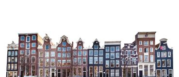 Typical canal houses in Amsterdam  Netherlands isolated on white background