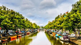 A typical canal scene in Amsterdam in the Netherlands Stock Photos