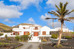 Typical Canarian house in tropical landscape of Lanzarote Royalty Free Stock Photography
