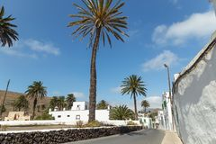 Typical Canarian village in Lanzarote, Canary Islands. Spain. Road and palm tree royalty free stock image