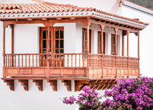 Typical canarian wooden balcony. Typical wooden balcony at gran canaria Royalty Free Stock Photography