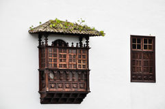 Typical canarian wooden balcony and window Royalty Free Stock Images