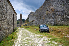 Typical car on old courtyard in Albania, Berat. Typical car on old courtyard in Albania - Berat royalty free stock photos