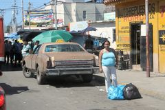 Typical car on the street in the Cumana city stock image