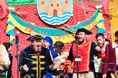 Typical carnival chorus (chirigota) in El Puerto de Santa Maria. Stock Images