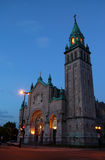 Typical catholic church in Montreal. One of my favorite lighting (just after sunset)! Camera: D50, F=5.6 stock image