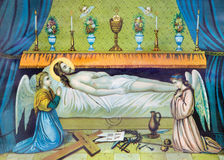 Typical catholic image of Jesus Christ in the tomb from the end of 19. cent. SEBECHLEBY, SLOVAKIA - FEBRUARY 27, 2016: Typical catholic image of Jesus Christ in stock images