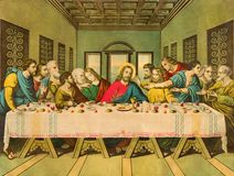 Free Typical Catholic Image The Last Supper Printed In Germany From End Of 19. Cent. Royalty Free Stock Images - 104627249