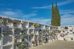 Typical cemetery in Spanish village Montras in a sunny day. 10. 03. 2019 Spain royalty free stock images