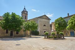 Typical Central Square Of Southern France At Typical Scenic Medi. Eval Village of Monclus Gard Occitanie France royalty free stock photos
