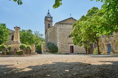 Typical Central Square Of Southern France At Typical Scenic Medi. Eval Village of Monclus Gard Occitanie France royalty free stock photography