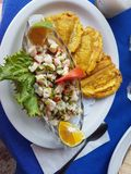 Typical Ceviche food with plantain banana. Costa Rica, Amerique centrale royalty free stock images