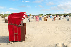 Typical chairs on island Borkum Royalty Free Stock Photo