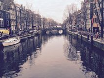 Typical channel in Amsterdam Stock Image