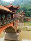 Typical chinese bridge near Leshan Royalty Free Stock Images