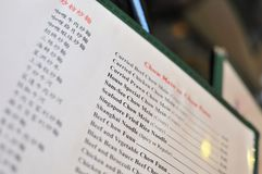 Typical Chinese cuisine menu. Typical menu in a Chinese cuisine restaurant Royalty Free Stock Photo