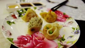 Typical chinese dumplings, Xi`An, China. The typical chinese dumplings with different shapes and tastes, with meat or vegetables and some are also spicy. I royalty free stock image