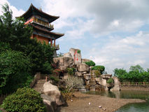 Typical Chinese garden. Has pool, rock, plants and pavillion Royalty Free Stock Photo