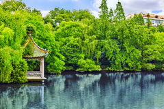 Typical Chinese garden,  park with bizarre rocks. Beijing. Stock Image