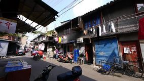 Typical Chinese old town street,shanghai traditional residences area. Gh2_07440 stock footage