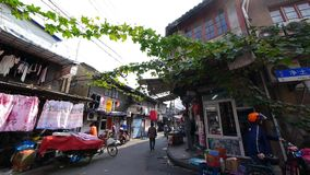 Typical Chinese old town street,shanghai traditional residences area. Vines  gh2_07448 stock video footage