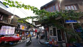 Typical Chinese old town street,shanghai traditional residences area. Vines  gh2_07447 stock video footage