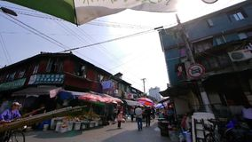 Typical Chinese old town street,shanghai traditional shopping marketplace. stock video footage