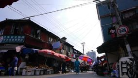 Typical Chinese old town street,shanghai traditional shopping marketplace. stock video